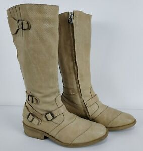 BELSTAFF Womens Beige Leather Long Boots Shoes Size 37