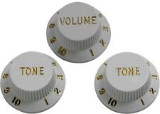 3 Stratocaster Strat Tone & Volume Guitar Control knobs replacement -White