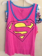 Ladies Supergirl Pink Pajama Shirt & Boxers Set XLarge 15-17 Superman Pajamas