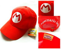 New Red Mario Baseball Cap Super Mario Bros Adult size Cap Hat Costume