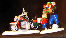 "DEPARTMENT 56 SNOW VILL..SET/2..HAND PAINTED...""A HARLEY DAVIDSON® HOLIDAY...NEW"