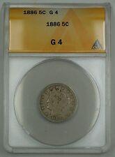 1886 Liberty V Nickel Coin 5c ANACS G-4