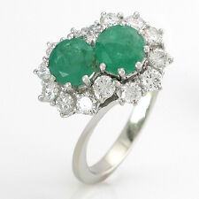 RING - 2 Smaragde zus.ca. 1,0 ct + 14 Brillanten 0,70 ct TW/SI - 18K Gold - 4,9g
