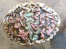 Vintage Closed Filigree Antiqued Enameled Brass Barrette French Clip Style  041