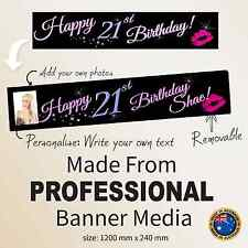 Happy 21st Birthday personalised hot pink fabric banner party decoration Custom