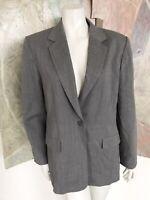 Talbots Grey Pure Wool Womens Blazer Jacket Size 8