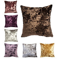 NEW Crushed Velvet Cushion Covers Luxury Plush Plain 18 X 18 inches