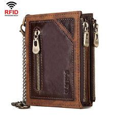 RFID Blocking Card Holder Wallet Leather Trifold Chain Wallet Trucker Purse