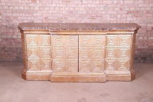 Hollywood Regency Diamond Faceted Gold Brushed Marble Top Sideboard by Hickory