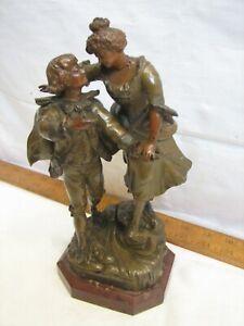Vintage Bronze Sculpture Le Passage Du Gue' Par Barthelemy Mother & Son