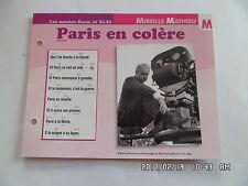 CARTE FICHE PLAISIR DE CHANTER MIREILLE MATHIEU PARIS EN COLERE