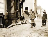 "1912 Boys Shooting Craps, Providence, RI Old Photo 8.5"" x 11"" Reprint"