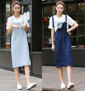 Womens Denim Jean Dress Pinafore Dungaree Bib & Brace Suspender Long Skirt Blue