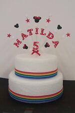 Minnie, Topolino Personalizzato Compleanno Cake Topper, Personalizzata Nome, Età