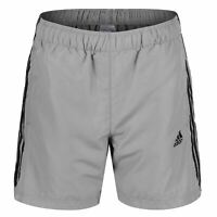 adidas ESSENTIALS MEN'S 3 STRIPE CHELSEA SHORTS GREY SUMMER BEACH POOL NEW BNWT