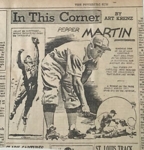1935 newspaper panel In This Corner by Krenz - Pepper Martin St. Louis Cardinals