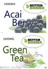 60 Acai Berry 2000mg 60 Tè Verde 2000mg forza estrema dieta perdita di peso dieta