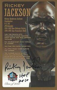 Rickey Jackson New Orleans Saints  Football Hall Of Fame Autographed Bust Card