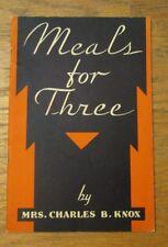 Meals For Three by Mrs. Charles B Knox 1932 recipes Knox Gelatine