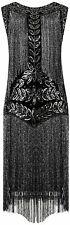 VIJIV Women's Flapper Dresses 1920s Gatsby Full, Black Silver, Size X-Large B44J