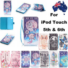 Patterned Leather Flip Stand Card Wallet Case Cover For iPod Touch 5th 6th Gen