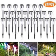 24Pcs Solar LED Landscape Lights Garden Walkway Path Solar Lamps Waterproof New