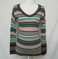 Missoni Womens Sz 8 Knit Pullover Sweater V-Neck Multi-Color Long Sleeve