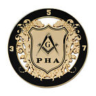 Prince Hall Shield Round Masonic Auto Emblem - [Black & Gold][3'' Diameter]