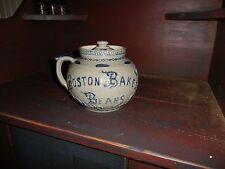"Stoneware Boston Baked Beans Elaborate Pot W/Lid 6"" Tall 8"" Across"