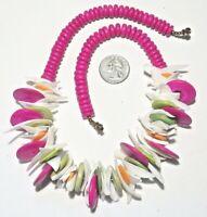 "Chunky Tropical White Shell/Fuchsia/Mint Green/Orange Coconut Bead Necklace 20"""
