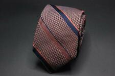 NWT IKE BEHAR Silk Tie. Orange w Navy Blue Stripes. Hand Tailored USA.