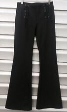 ELLA MOSS Gray Flare Leather Lace Up Stretch Pants