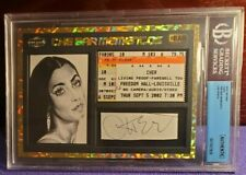 "2019 ""THE BAR"" CHER AUTOGRAPH & USED 2002 CONCERT TICKET (BECKETT SLABBED)"