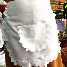 Retro Vintage White Half Waist Woman's Apron With Pocket Pinny Frilly Waitress