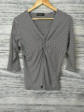 Claudia C 14 Black Stripe Pattern White Ruched Knot 3/4 Sleeves V Neck Blouse