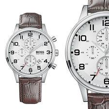Hugo Boss 1512447 Aeroliner Silber Edelstahl Herrenuhr Braun Leder Armbanduhr