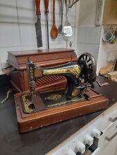 More details for antique vintage singer sewing machine 28 k 28k table top hand crank cased boxed