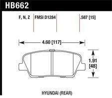 Hawk 10 For Genesis Coupe (w/o Brembo Breaks) HPS Street 15mm Rear Brake Pad