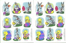 Looney Tunes Bugs Bunny Tweety EASTER Stickers 1995 2 Sheets!