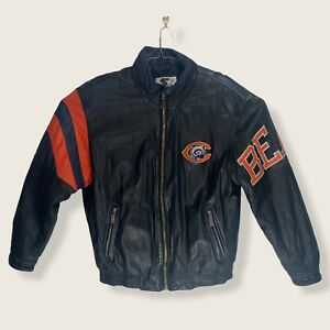 RARE VTG Men's XL Chicago Bears Starter Leather Jacket Large Logo Embroidered