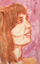 Vintage fauvist watercolor painting female portrait