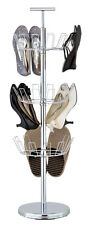 3 Tier Revolving Shoe Rack Tree - Chrome - 29x29x100 cm Tidy Neat Boots New