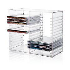 CD DVD Storage Rack Jewel Case Holder Stand Organizer Crystal Clear Shelf Decor