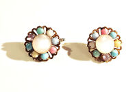 VINTAGE JEWELRY 1960s Pastel Color Round Moonstone Lucite Bead Flower Cuff Links