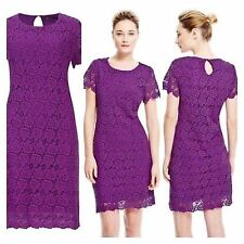 Ex Marks and Spencer Lace Purple Short Sleeves Dress Size 10