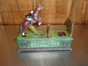 Vintage Show Jumper Cast Iron Bank Horse Jockey Equestrian