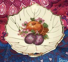 Estate Collectable ~ Japan Small Gold Rim Fruit Leaf Shape Dish ~ Vintage