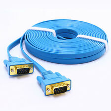 Slim Flat VGA Cable 15ft Male to Male 15 Pin Computer Monitor Cord 5m for PC TV