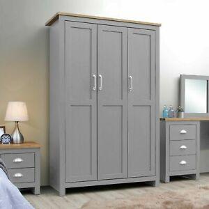 Lisbon 3 Door Triple Wardrobe In Grey - Bedroom Furniture Storage Cupboard