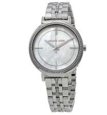 Michael Kors Cinthia Mother of Pearl MK3641 Silver Stainless Steel Watch NIB